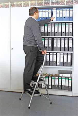 Fellépő, 2 lépcsőfokos, alumínium, KRAUSE Toppy XL UL11