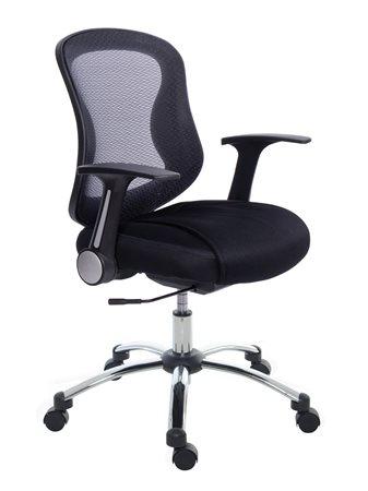 Mayah Irodai szék, karfás, fekete szövetborítás, hálós